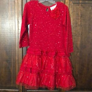 Girl's Rare Editions Red long sleeve dress size 5